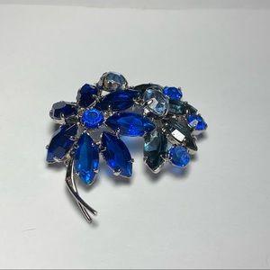 💥3 for $25💥 Vintage Blue Rhinestone Silver-tone Brooch